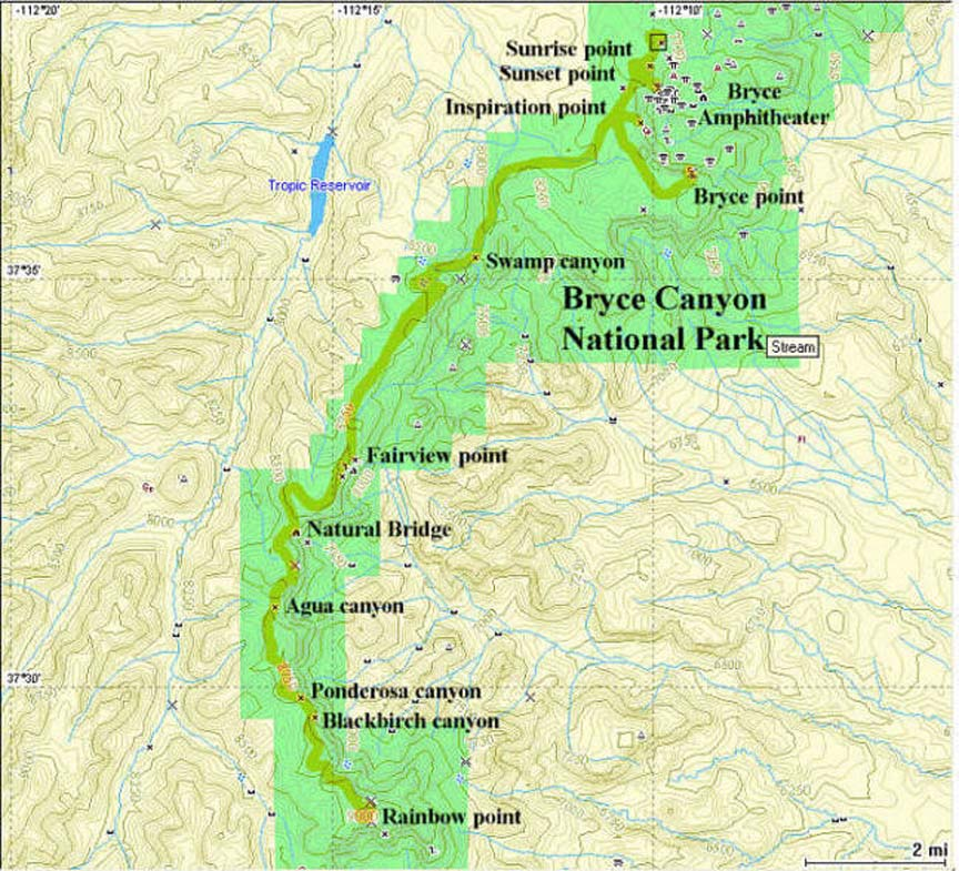 Bryce Canyon GPS map