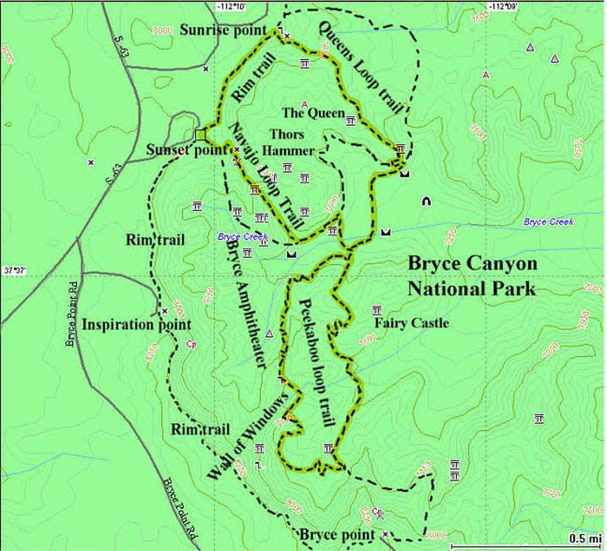 Bryce Amphitheater GPS map