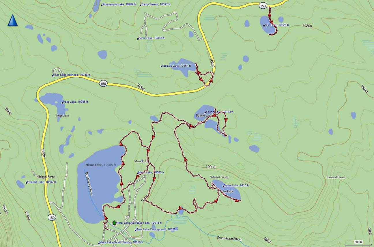 Mirror Lake Area GPS map on
